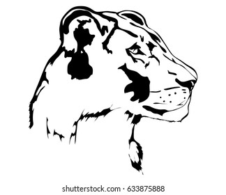 Head silhouette of lioness vector illustration