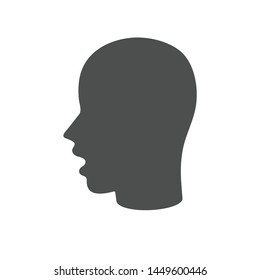 Head silhouette with open mouth icon