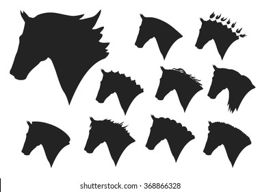 head silhouettes of horses on a white background