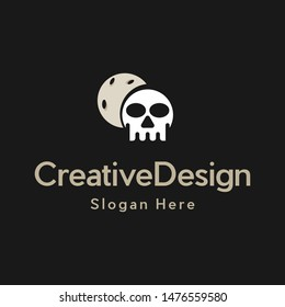 Head Skull Of Moon Creative Logo Design