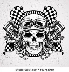 head skull wearing helmet and cafe racer vector design and print