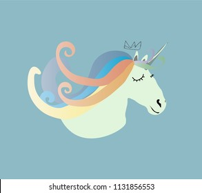 Head sleepy cute unicorn.Vector illustration.Design of t-shirts, postcards. Cartoon animals for children.