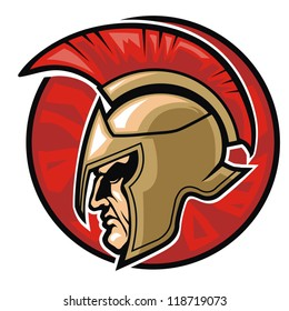 head of spartan warrior in a circle background