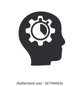 Head and speedometer design, growth mindset, potential development, fast self improvement, soft skills training, boost efficiency, fast decision making, vector icon