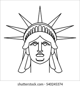 Head of Statue of Liberty  Linear style. Face sculpture America. Monument in US architecture. National Historic Landmark in United States.