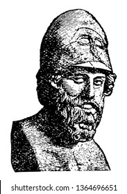 A head statue of Pericles, vintage line drawing or engraving illustration.
