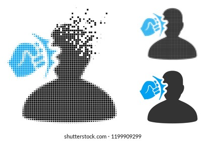 Head strike icon in disappearing, pixelated halftone and undamaged entire variants. Points are arranged into vector disappearing head strike icon. Disappearing effect uses rectangle pixels.