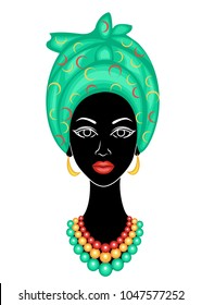Head of a sweet lady. A bright blue shawl and a turban were fixed on the head of the African American girl. The woman is beautiful and stylish. Vector illustration.