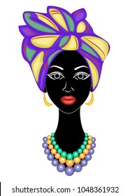 Head of a sweet lady. On the head of an African-American girl a bright purple shawl tied up, a turban. The woman is beautiful and stylish. Vector illustration.