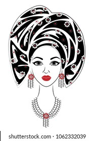 Head of a sweet lady. On the head of an African-American girl is a shawl, a turban. The woman is beautiful and stylish. Vector illustration.