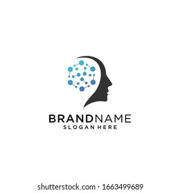 Head Tech logo, colorful Head logo concept vector, Head digital Technology Logo template designs vector illustration, Brain tech logo vector.