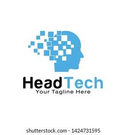 Head Tech logo design template