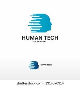head tech logo illustration. - Vector
