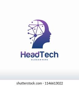 Head Tech logo, Pixel Head logo concept vector, Robotic Technology Logo template designs vector illustration