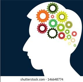 head thinking gear vector