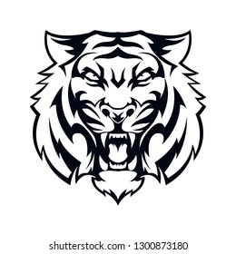 head tiger black vector illustration