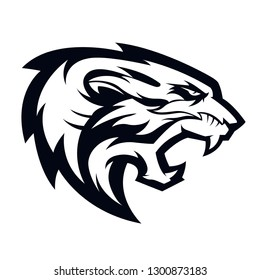 head tiger black vector illustration