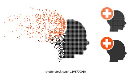 Head treatment icon in disappearing, dotted halftone and undamaged entire versions. Cells are grouped into vector disappearing head treatment figure. Disappearing effect uses rectangle points.