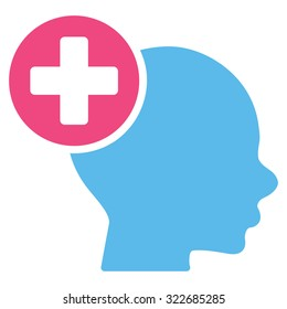 Head Treatment vector icon. Style is bicolor flat symbol, pink and blue colors, rounded angles, white background.
