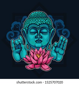 Head turquoise Buddha with hands folded in sutras. Buddha's eyes are closed. Appeasement. Buddha meditating on a Lotus flower.