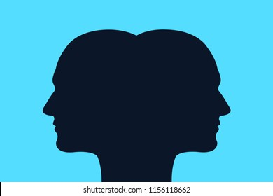 Head with two faces - conjoined twins / schizophrenia with split mind and personality. Vector illustration