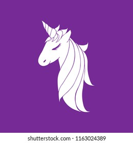 head of a unicorn with a horn and mane. vector white colorless unicorn beautiful for girls, layout for coloring and design.