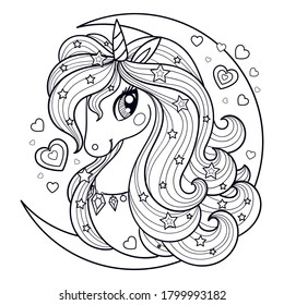 The head of a unicorn with a long mane against the background of the moon. Black-white linear drawing. For prints, posters, coloring books, postcards, stickers, tattoos. Vector