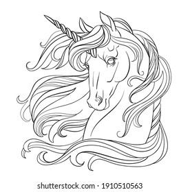 Head of unicorn with a long mane. Vector black and white illustration for coloring page. For the design of prints, posters, postcards, coloring books, stickers, tattoos,