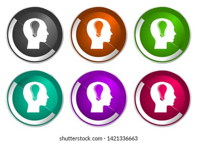 Head vector icons. Chrome border round web buttons. Silver metallic pushbutton colorful set