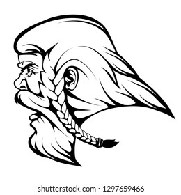 Head Viking warrior, viking warrior face drawing sketch, viking logo in black and white, vector graphics to design
