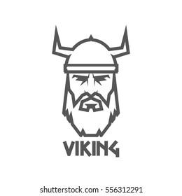 Head of Viking wearing a helmet. Logo barbarian