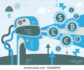 Head with virtual reality glasses thinking in currency exchange, concept with infographics elements and grunge texture.