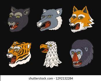 Head of Wild Animal Predator. Puma Wolf Fox Tiger Eagle Falcon Monkey Face. Japanese Style Portraits. Hand drawn Engraved Monochrome Old Sketch for retro logos. Close up.