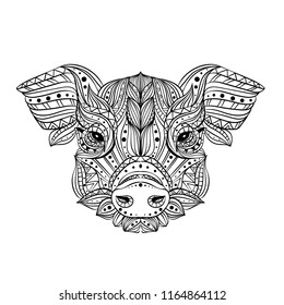 Head of a wild boar. Meditation, coloring of the mandala. Pig head with fangs and hair. Drawing manually, templates. Zentangle art.