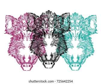 Head of a wild boar. Meditation, coloring of the mandala. Pig head with fangs and hair. Drawing manually, templates.