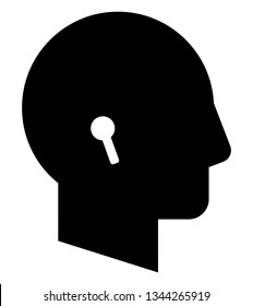 Head with wireless earphones icon. Vector icon of male profile with wireless headphones