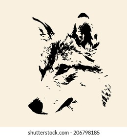 The head of wolf female, isolated on sepia background. Side face portrait of a forest dangerous beast, Canis lupus lupus. Amazing monochrome vector image. Great for user pic, icon, label, tattoo.