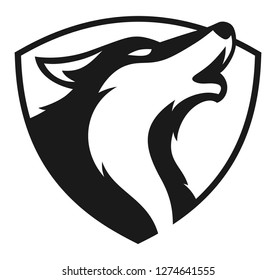 Head wolf howling shield vector design