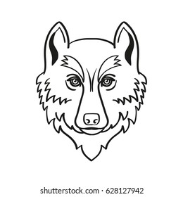 Head of a wolf. Linear vector drawing.