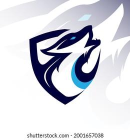 Head wolf mascot logo esport design