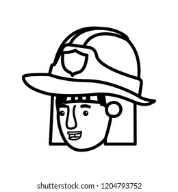 head of woman firewoman avatar character