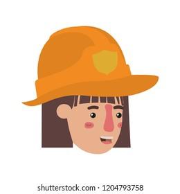 head of woman firewoman avatar character