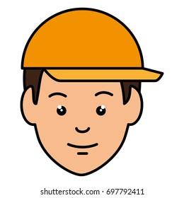 head worker with helmet
