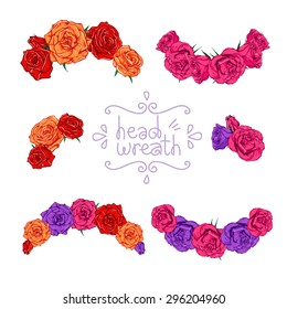 Head wreath set. Vector illustration