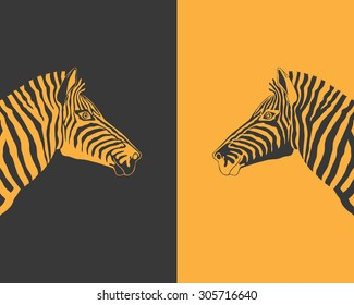Head of zebra in profile. Two zebras looking at each other, two different design - black and yellow stripes. Side view. vector art image illustration, black and yellow background