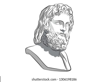 Head of Zeus Asclepius Jupiter Jove Greece Athens Ancient statue antique god vector sculpture