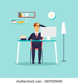 Headache. Businessman working in the office. Flat vector illustration in cartoon style.