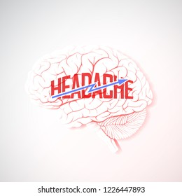 Headache concept in the form of an inflamed brain, lightning and the inscription Nedadache. Vector