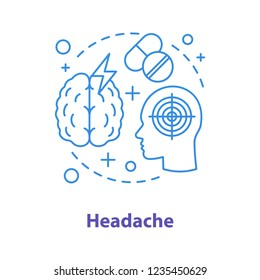 Headache concept icon. Migraine idea thin line illustration. Painkiller. Vector isolated outline drawing