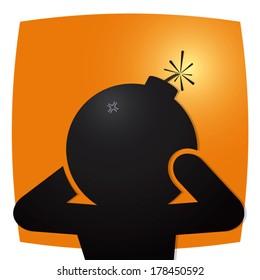Headache.  Figure man holding bomb head. Vector illustration